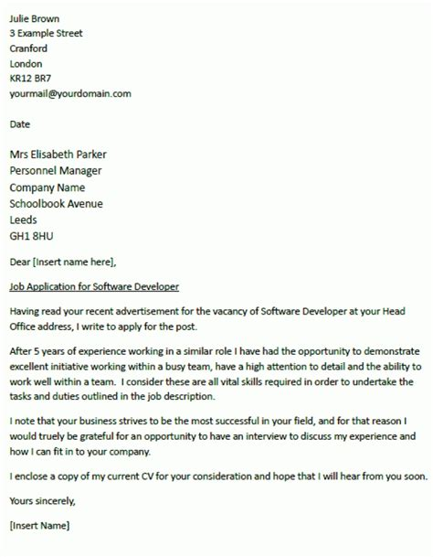 cover sle letter cover letter exles uk document blogs