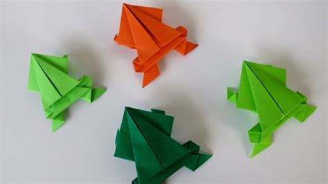 Make Frog From Paper - origami jumping frog rana saltarina