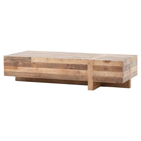 Rectangle Wood Coffee Table by Wyatt Rustic Lodge Chunky Reclaimed Wood Rectangle Coffee