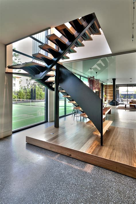 Chic Floating Staircase look Other Metro Contemporary Staircase Decorating ideas with glass wall
