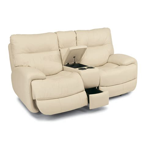 Flexsteel Reclining Loveseat With Console by Flexsteel 1447 604p Evian Leather Power Reclining Loveseat