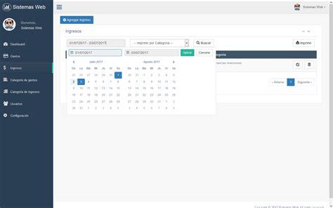 sistemas web de administracion de gastos  ingresos