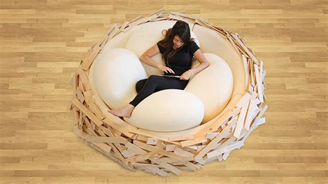 egg bed giant birdnest wooden bed filled with soft egg shaped