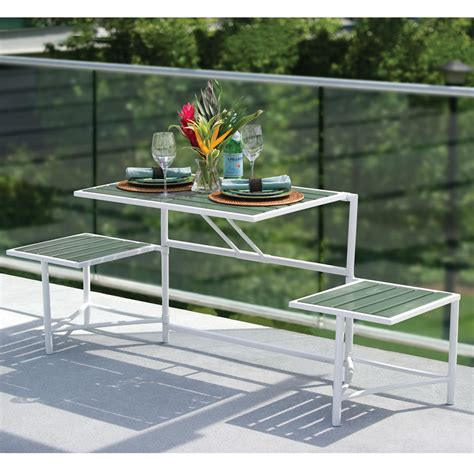 balcony bench the manhattan balcony convertible bench hammacher schlemmer