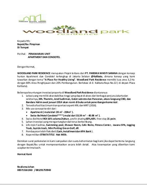 Contoh Surat Permintaan Penawaran Jasa Pengiriman by Surat Penawaran Woodlandpark Residence