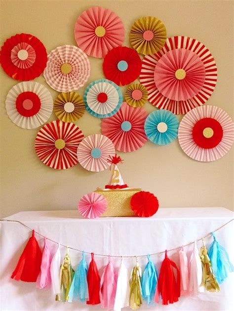 paper fan circle decorations carnival circus party backdrop pink red blue and gold