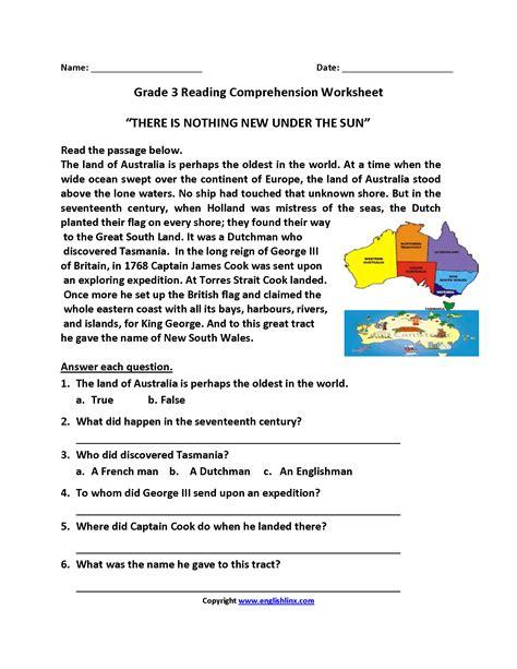 nothing new sun third grade reading worksheets al