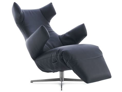 swivel leather armchair with motorised functions saola by
