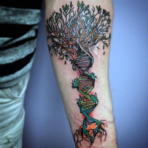 dna tree tattoo beautiful designed and colored dna with tree