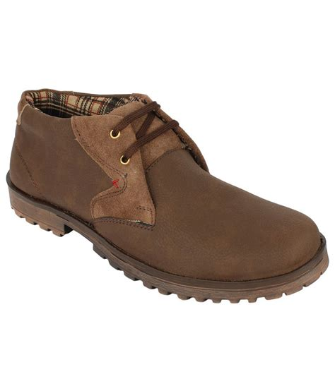 san vertino brown synthetic leather boots for price in