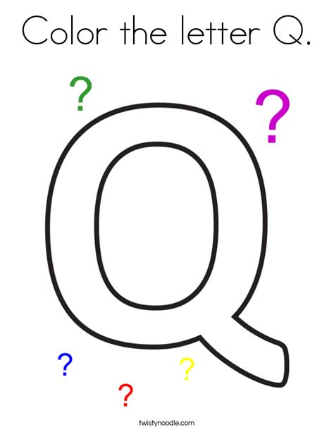 color that starts with q color the letter q coloring page twisty noodle