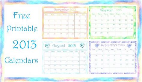 Lounge72 Pdf Calendars by Free Printable 2013 Calendar With Watercolor Http Www
