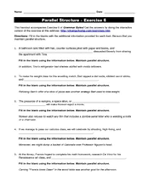 Parallel Structure Worksheet With Answers by Parallel Structure Exercise 6 4th 6th Grade Worksheet