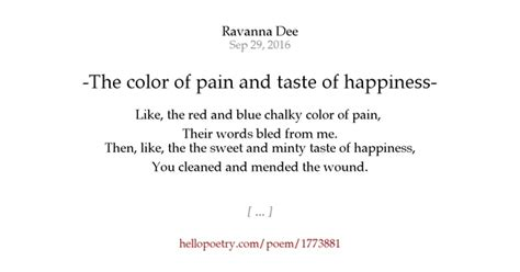 color of pain the color of pain and taste of happiness by ravanna dee