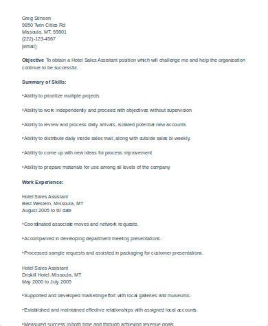 Hotel Sales Assistant Sle Resume by Sle Sales Assistant Resume 8 Exles In Word Pdf