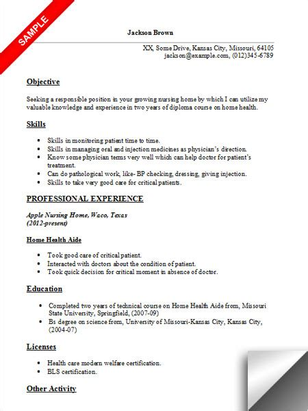Resume Exles For Health Care Aide Home Health Aide Resume Sle