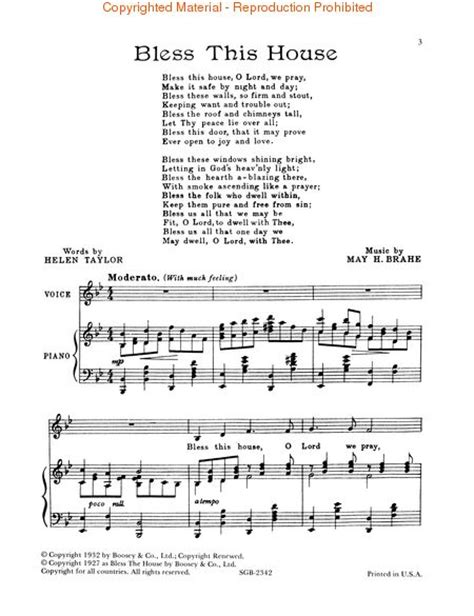 bless this house music sheet music may h brahe bless this house voix soprano voix alto