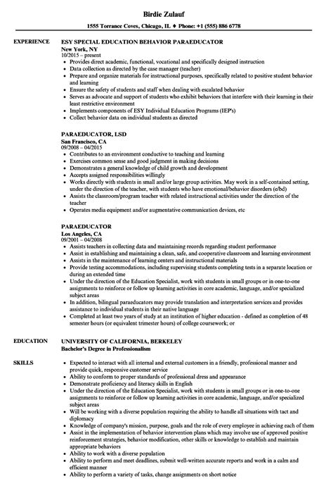 paraeducator resume sles velvet
