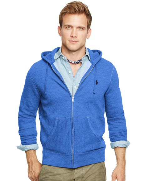 Vest Hoodie Zipper Polos Abu K21 lyst polo ralph zip fleece hoodie in blue for