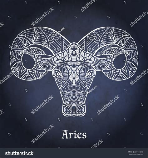 decorative zodiac sign aries on night stock vector