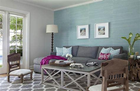 aqua blue  charcoal gray living room design