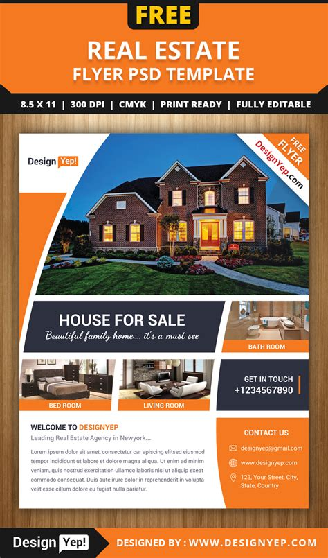 property brochure template free free real estate flyer psd template designyep