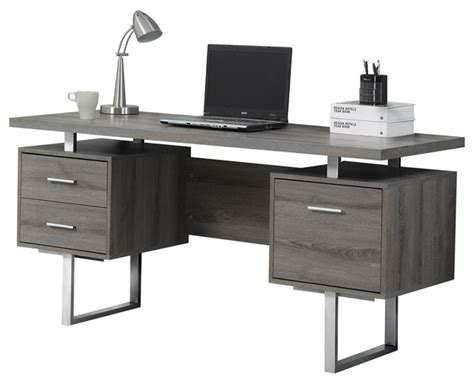 Houzz Office Desk Monarch Specialties Computer Desk 60 Quot Cappuccino Silver Metal I7080 Desks And Hutches Houzz