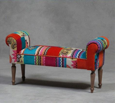 Boho Patchwork Chair - patchwork shabby style retro vintage bench chair
