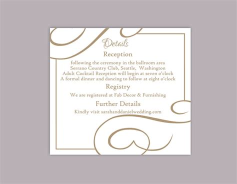 Wedding Detail Card Template Free by Diy Wedding Details Card Template Editable Text Word File