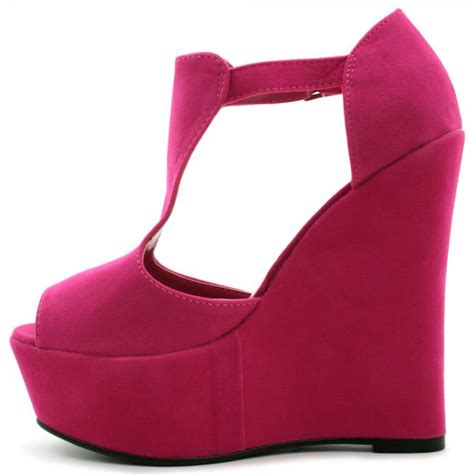 buy makenzie wedge heel platform shoes pink suede style
