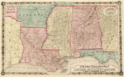 texas to alabama map j h colton s topographical map of louisiana mississippi and alabama part of adjoining
