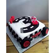 Lightning McQueen Cars 3rd Birthday Cake With Track Shaped