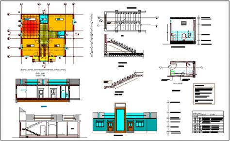 building floor plan detail and elevation view detail dwg file house plan elevation and section view with door window and