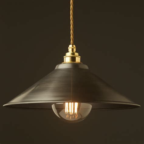 Steel Pendant Light Antiqued Steel Light Shade 310mm Pendant