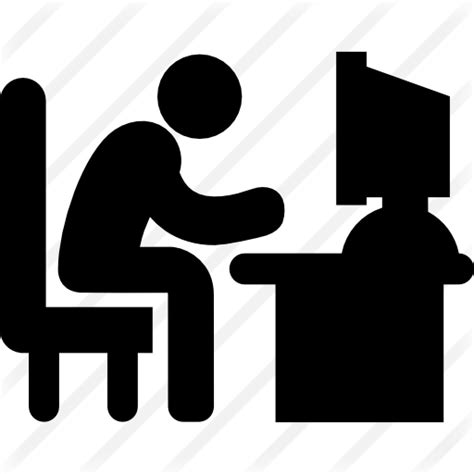 Long Computer Desk Man Sitting On Office Desk Working In Front A Monitor Of