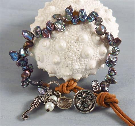 Handcrafted Gemstone Jewellery - handmade boho blue keishi pearl bracelet handmade jewelry