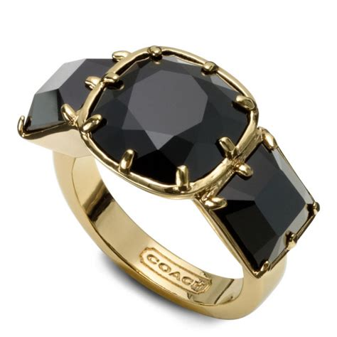 coach large square cocktail ring in gold gold black lyst