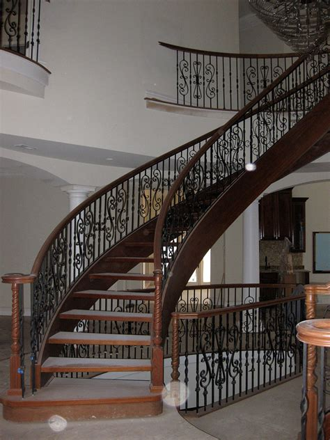 Steel Banister Steel Stair Rail With Scroll Pickets And Wood Cap