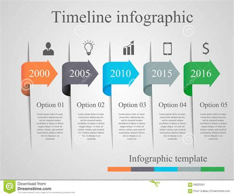 Infographics Arrow Timeline Template Stock Vector Illustration 66825561 Infographic Layout Template