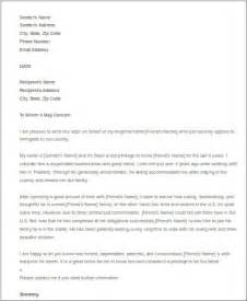 Recommendation Letter For Friends Immigration Sle Letter Of Recommendation For A Friend 6 Exles In Word Pdf