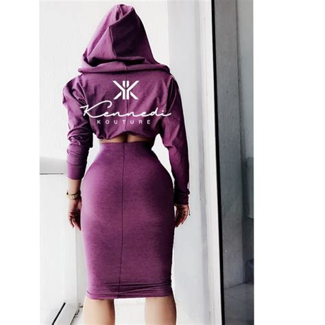 custom quot kimmy quot crop top hoodie with fitted midi skirt 2