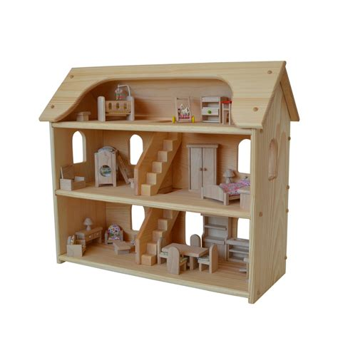 doll house toy handcrafted natural wooden toy dollhouse set waldorf