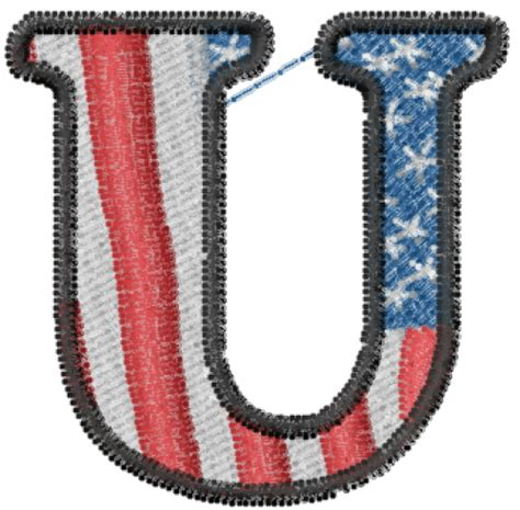 u design embroidery text and shapes embroidery design american flag letter u