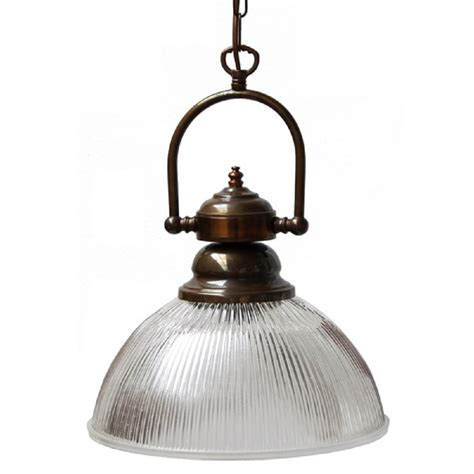 Traditional Pendant Light Aged Brass Table Pendant Light With Prismatic Ribbed Glass Shade
