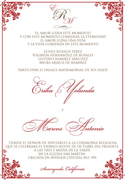 wedding invitation wording in spanish template best