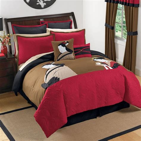 Japanese Bedding Sets King Black Brown Asian Inspired Japanese Comforter Bedding Set