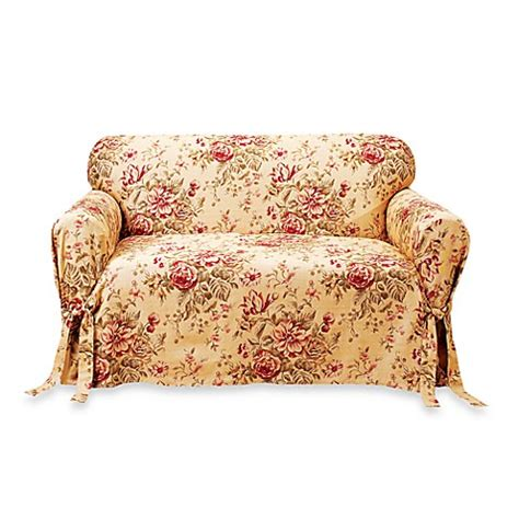 floral loveseat slipcovers grace floral loveseat slipcover by sure fit 174 bed bath