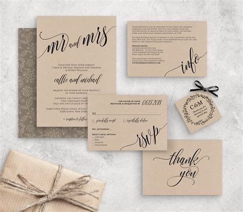Wedding Invitation Template Instant Download Rustic Modern Wedding Invite Set Rsvp Info Card Wedding Invitation Card Template Editable