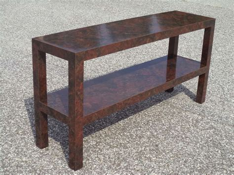 mid century parsons sofa table with faux tortoise shell