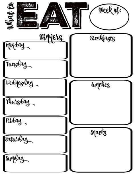 weekly planner printable black and white 45 printable weekly meal planner templates kitty baby love